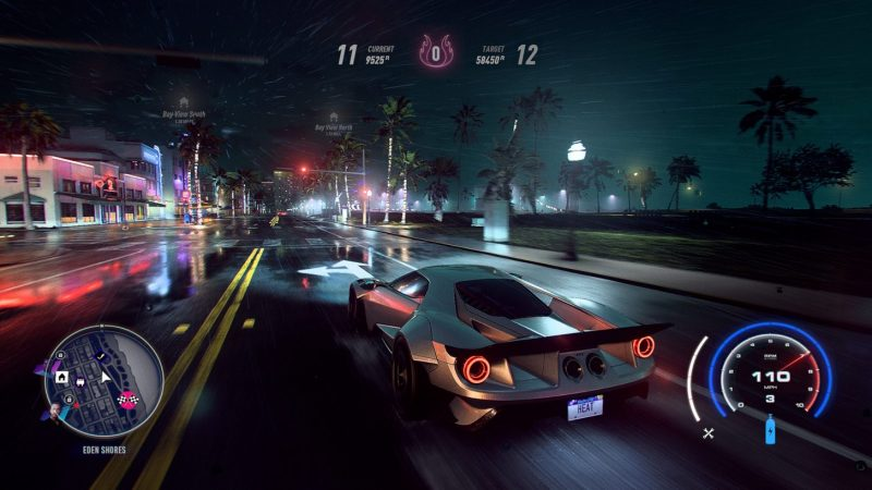 Need For Speed: Heat gameplay showing racecar on a street