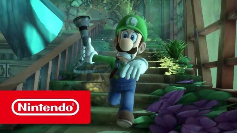 Luigi running with torch and Nintendo logo