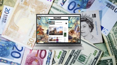 FULLSYNC Website on a laptop screen with currencies of the world in the background
