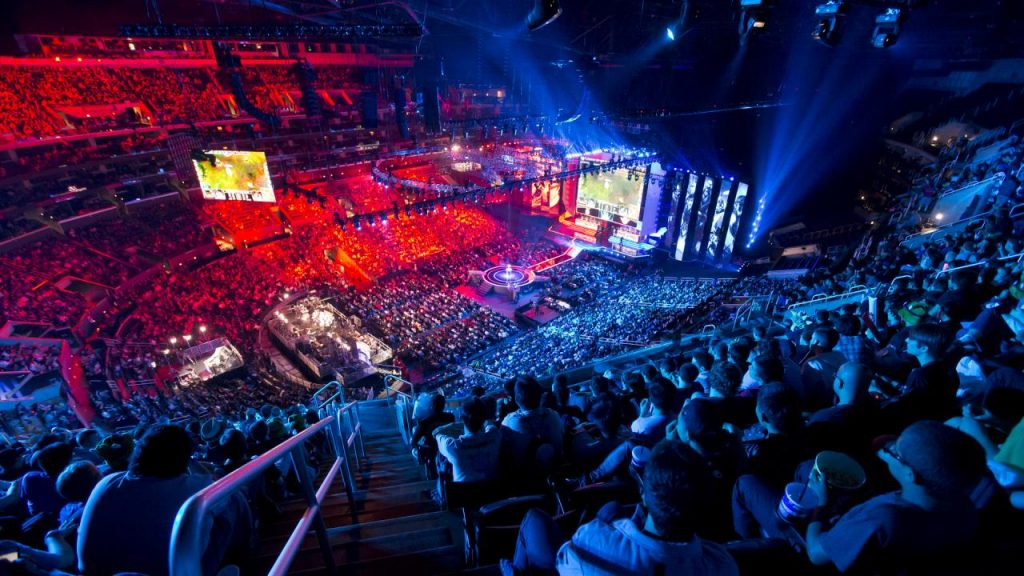 View from up in the packed stands at a League of Legends tournament