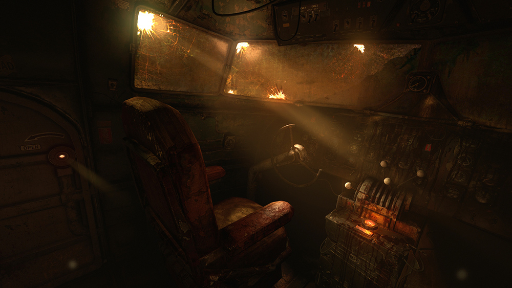 Frictional Games Amnesia: Rebirth gameplay screenshot inside an abandoned airplane cockpit