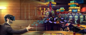 VR Sports Betting showing a man wearing a VR headset playing casino games in VR - Virtual Gaming gambler