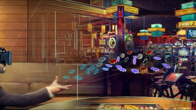VR Sports Betting showing a man wearing a VR headset playing casino games in VR