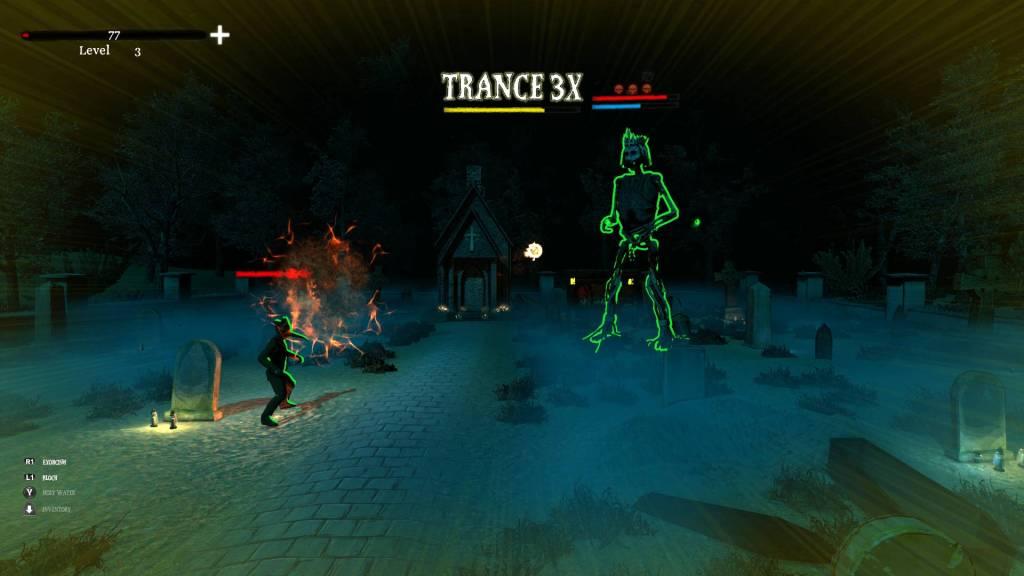 Infernal Radiation gameplay showing a priest battling a demon