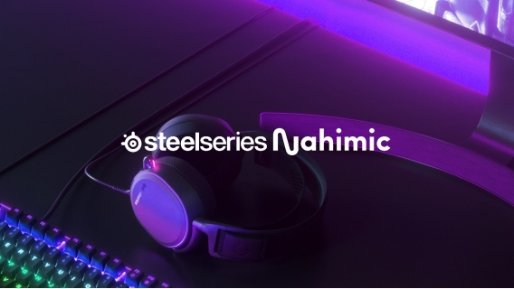 Steelseries and Nahimic logos with purple background