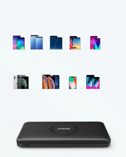 Anker PowerCore 10K Wireless showing compatability with various phone models