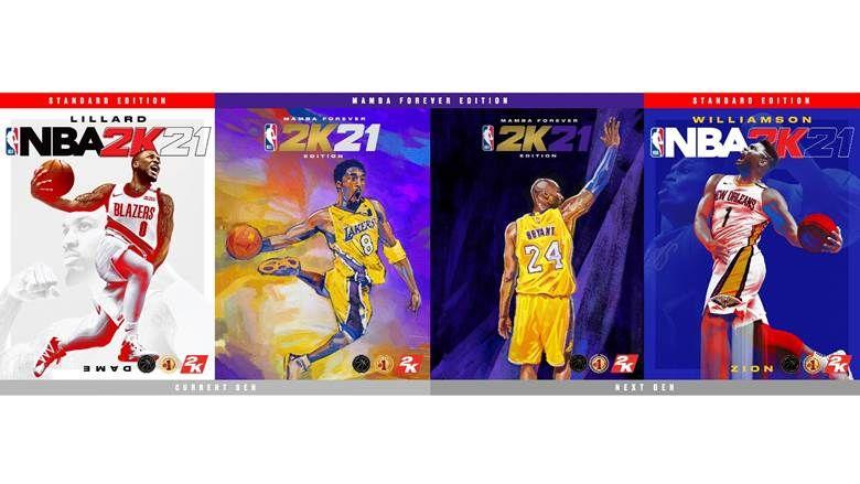 NBA 2K21 Covers showcasing Damian Lillard, Zion Williamson and Kobe Bryant
