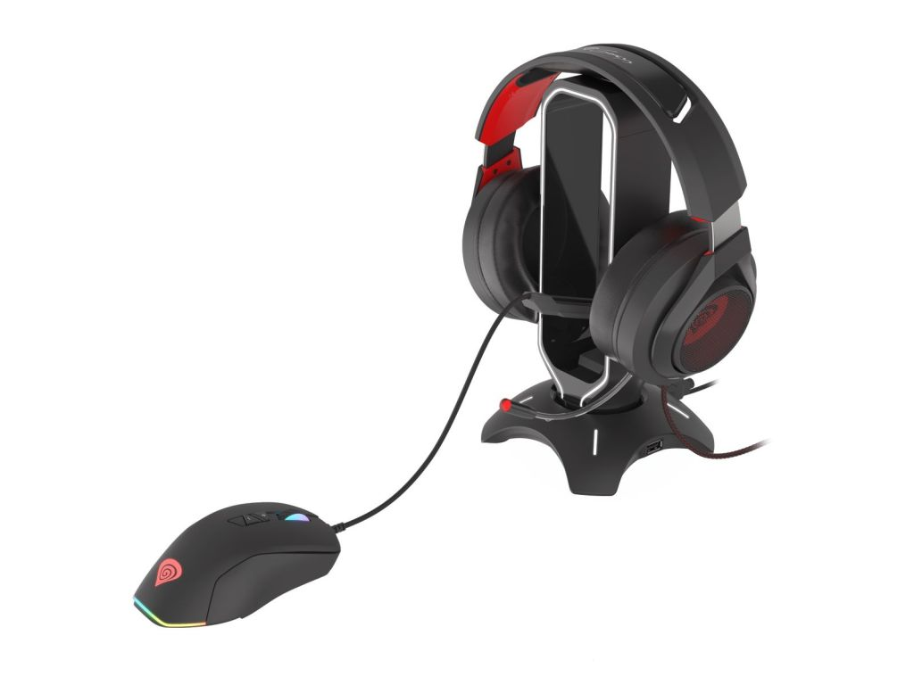 Genesis Vanad 500 with headphones on rest, and mouse using bungee arm