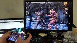 Fighting Games streamed to monitor whilst being played on mobile