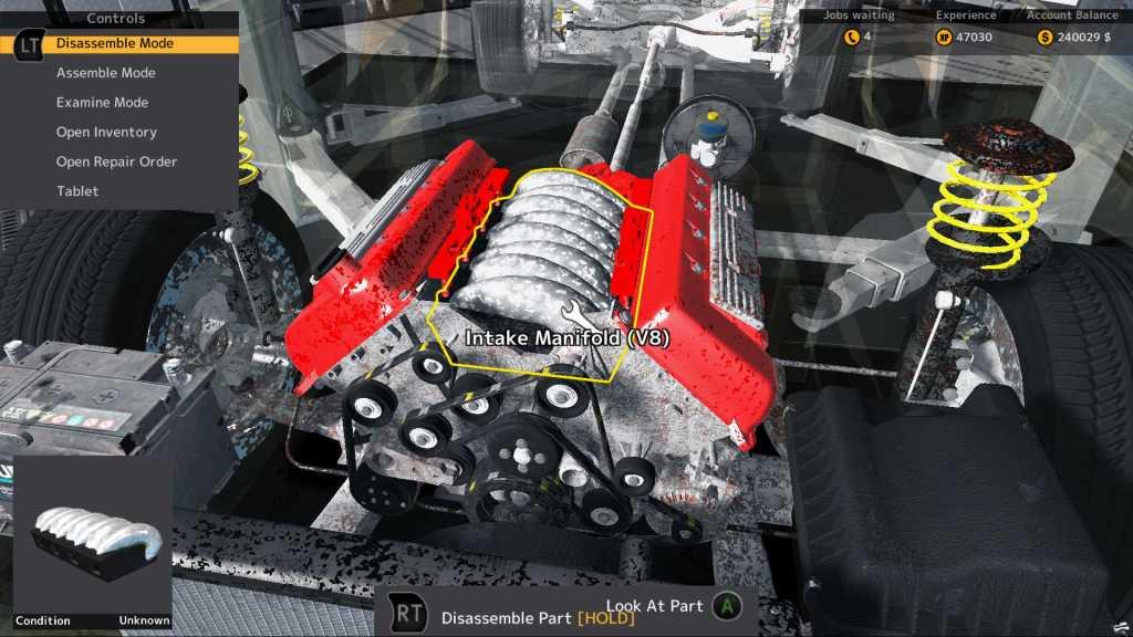 Car Mechanic Simulator Classic gameplay fitting an engine
