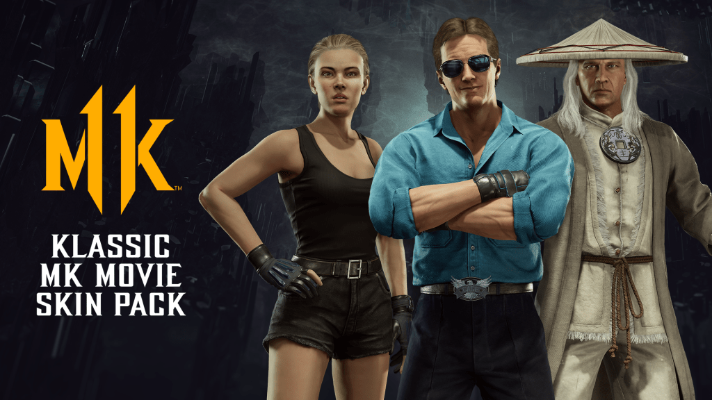 Mortal Kombat 11 Klassic MK Movie Skin Pack line up of Sonya, Johnny Cage and Raiden
