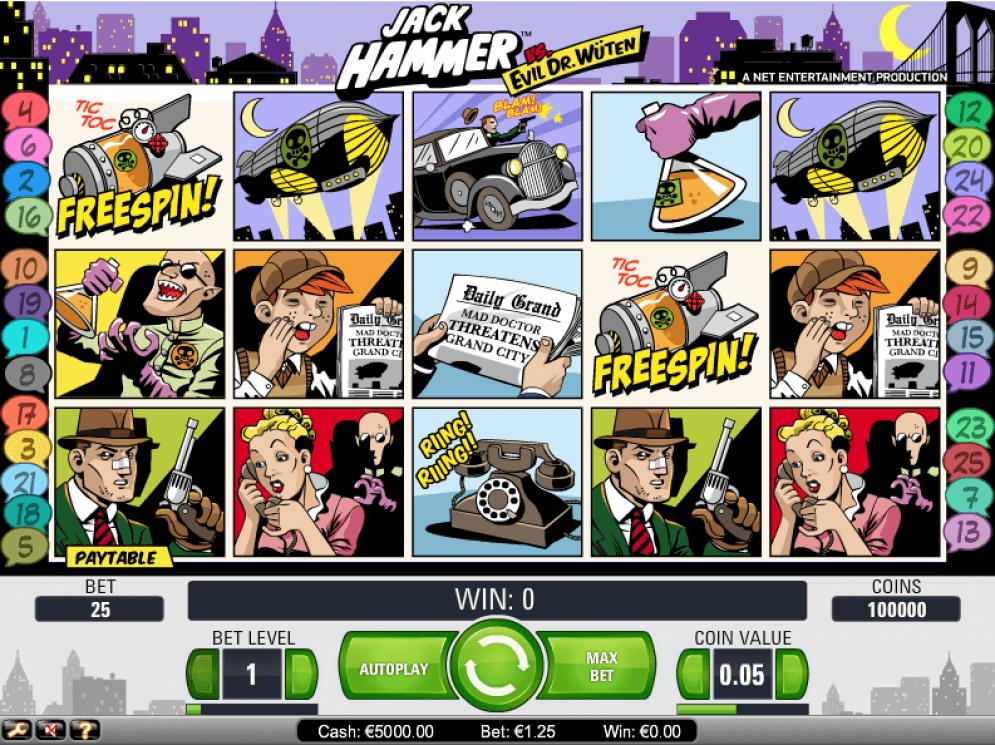 Jack Hammer Comic-themed Slot Game Reels