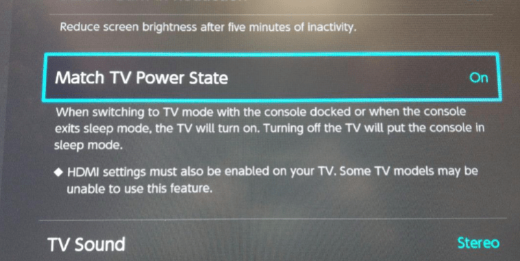 Switch Match TV Power State option