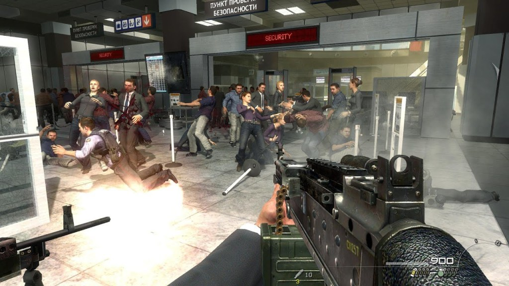 Call of Duty Modern Warfare 2 Controversial Russian Airport Level, showing a mass killing of civilians