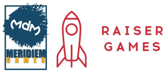 Meridiem Games and Raiser Games logos side by side
