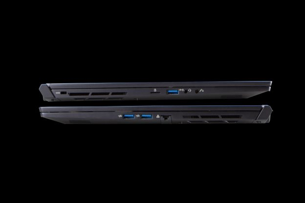 Reign Gaming Laptops sat on top of each other to show how thin they are