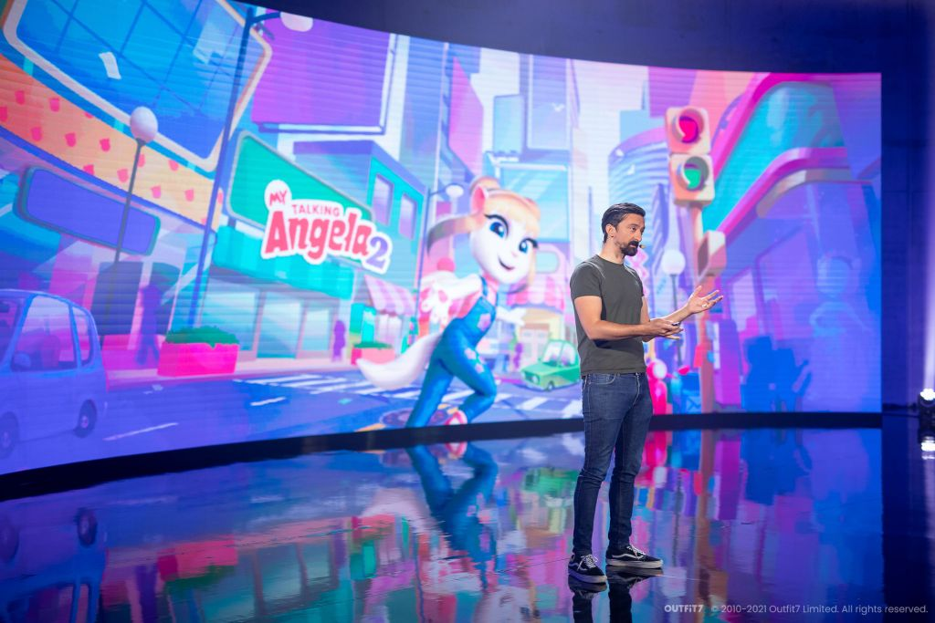 Ante Odić, Senior VP of Product Development, Outfit7 showing My Talking Angela 2