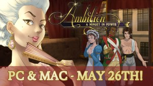 Ambition: A Minuet in Power logo with May release date