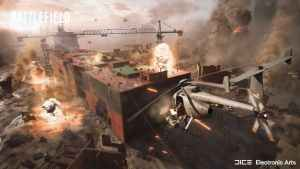 Battlefield 2042 helicopter firing at a rooftop