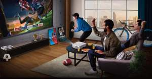 BenQ TK850 in a living room projecting sports