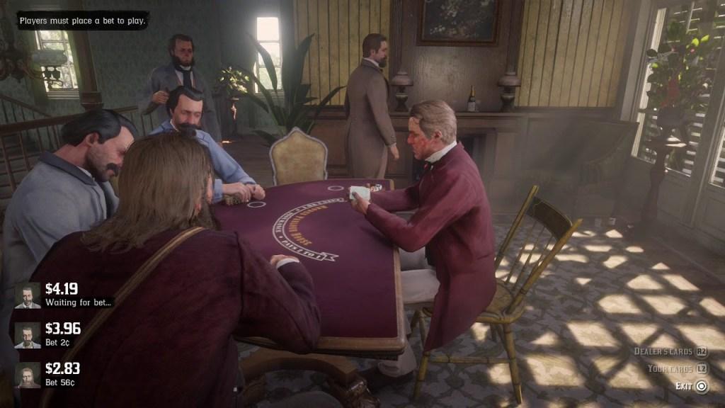 Red Dead Redemption 2 having a gamble on Blackjack