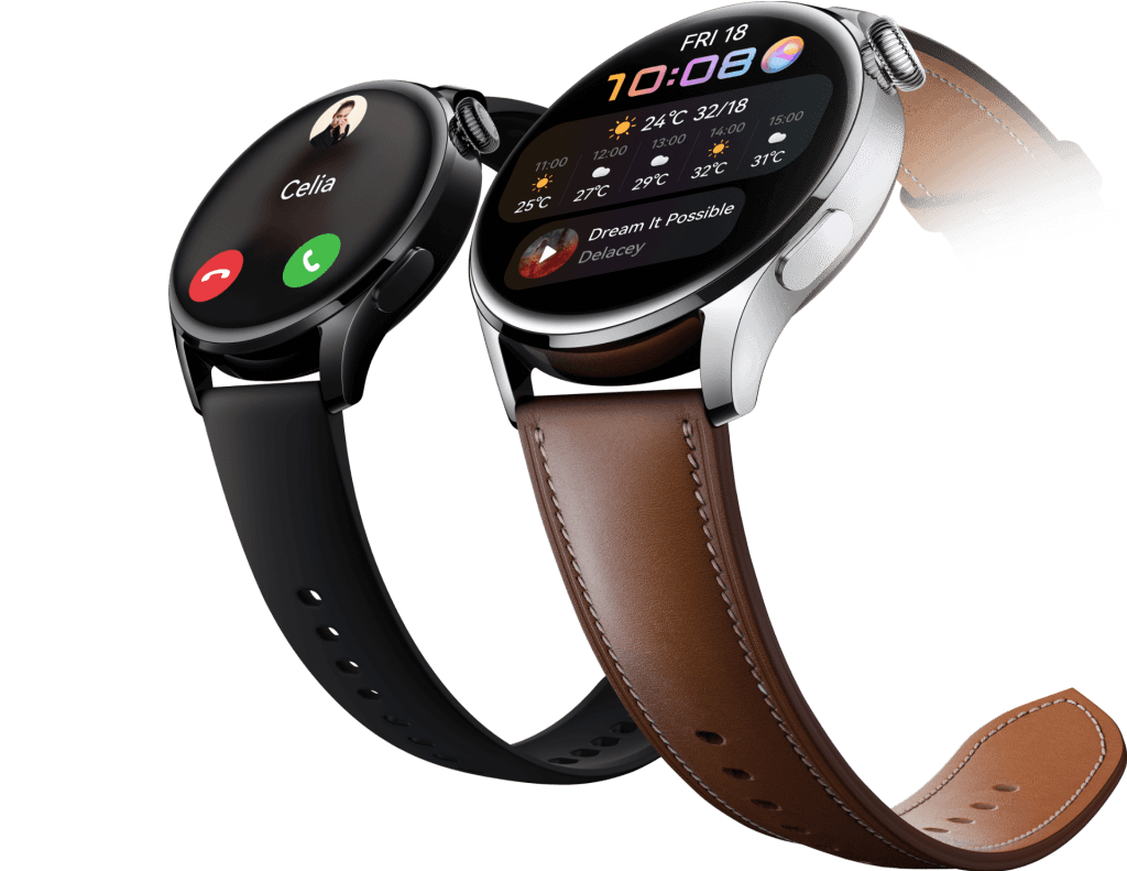 Huawei's Watch 3 with black and Brown straps