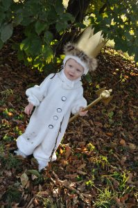 toddler boy in a King Max Halloween costume from Where the Wild Things Are