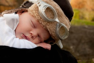baby boy in an aviator Halloween costume close-up