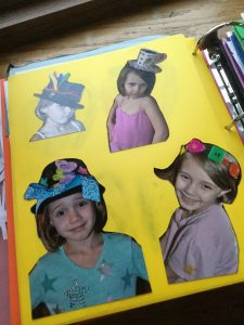 Pictures of my daughter wearing hats and headbands she designed