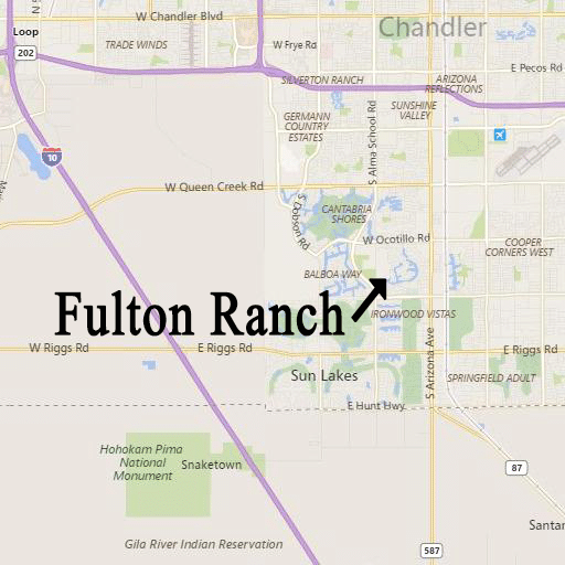 Map to Fulton Ranch in Chandler AZ