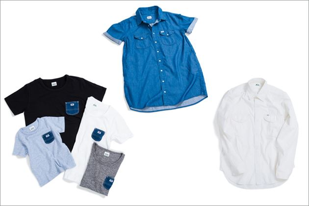 Lee×URBAN RESEARCH新ラインnaturalのデニムシャツと白シャツとポケットTシャツ