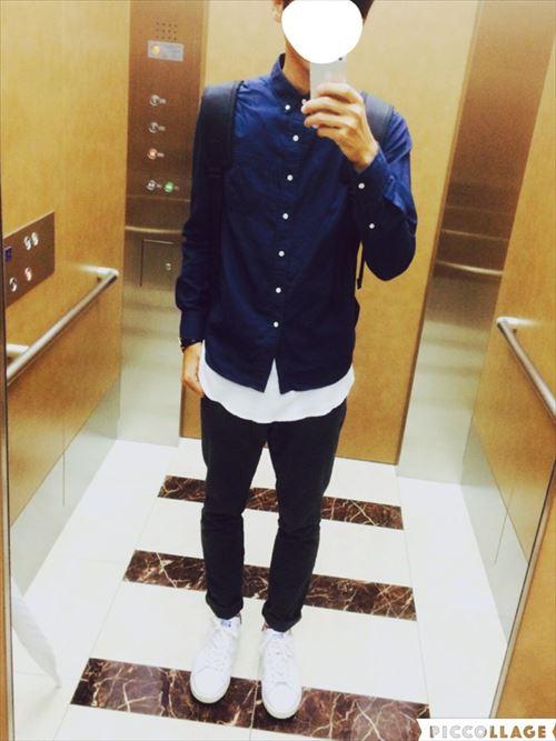 流行のロング丈Tシャツ・タンクトップを着こなした春夏メンズコーディネート画像1