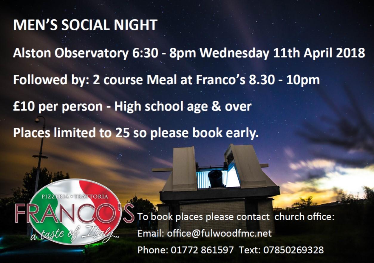 Men's Social Night | Alston Observatory