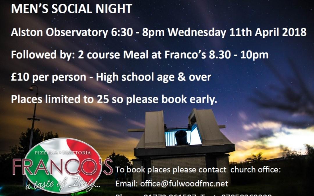 Men's Social Night   Alston Observatory