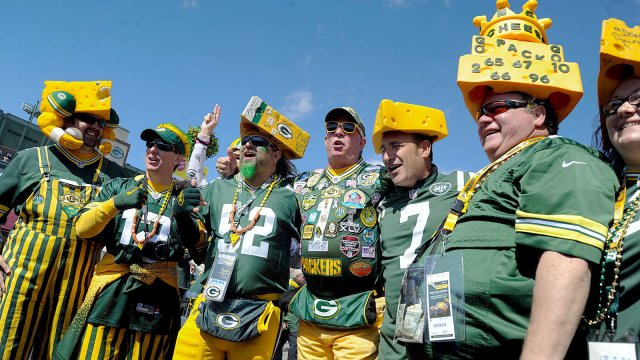 Sep 14, 2014; Green Bay, WI, USA; Green Bay Packers fans arrive for the game against the New York Jets at Lambeau Field. Mandatory Credit: Benny Sieu-USA TODAY Sports