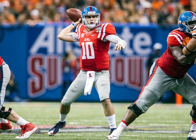 1 January 2016; Ole Miss Rebels v Oklahoma State Cowboys; Ole Miss Rebels quarterback Chad Kelly (10) during a game in New Orleans, Louisiana