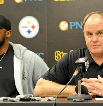 Mike Tomlin e Kevin Colbert, head coach e general manager do Pittsburgh Steelers