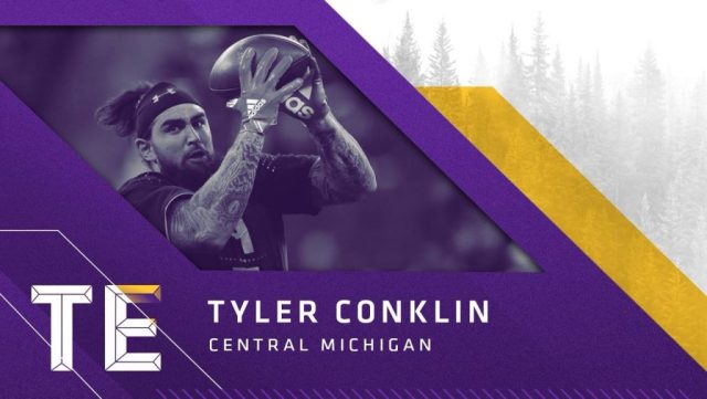 Tight End Tyler Conklin, Central Michigan,, escolha do Vikings