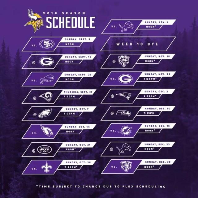 Calendário Vikings 2018