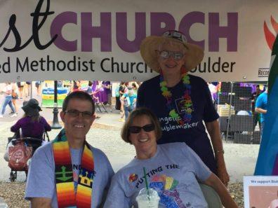 Pastor Matthias Krier, Della Krier, and Jean Hodges at our 2018 Pridefest booth.