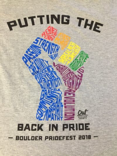 A close-up of this year's Pridefest t-shirt.