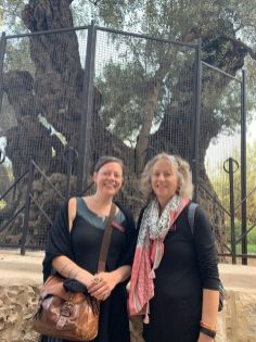 Celene and Brenda outside the oldest Olive Tree in the Garden of Gethsemane.