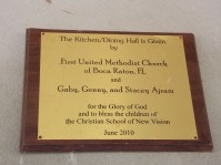 The dedication plaque of the kitchen / dining hall