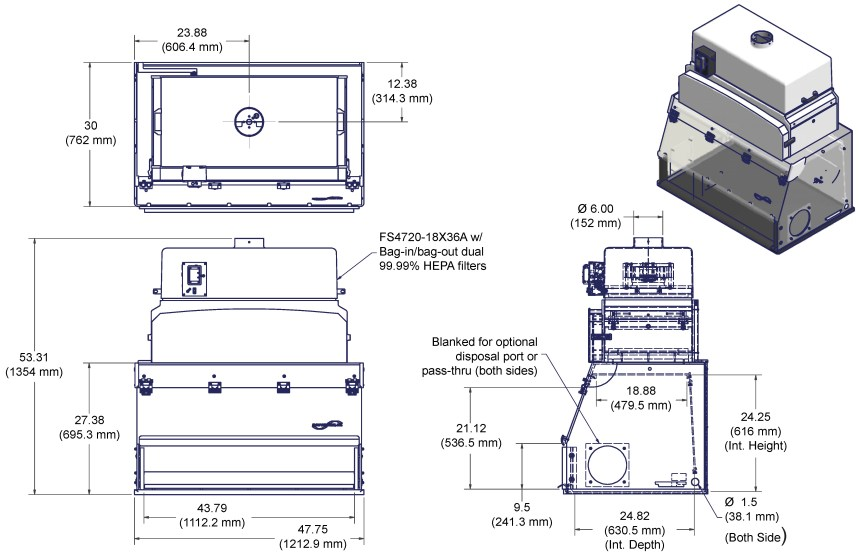 Laminar Flow Powder Hoods 4' Dual HEPA