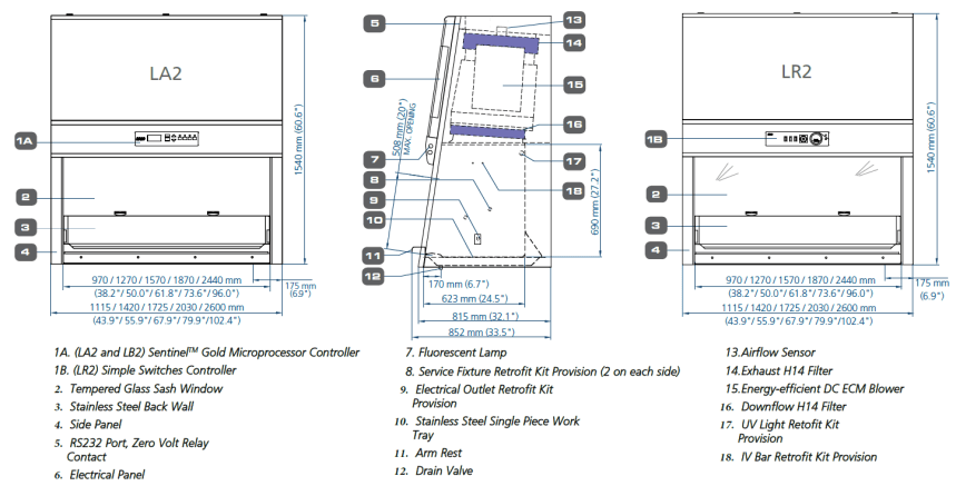 Labculture Biological Safety Cabinets Class II Type A2 Biological Safety Cabinet Engineering Drawing