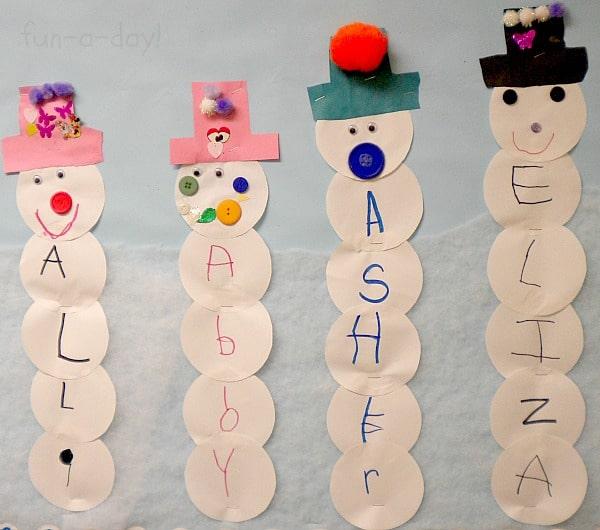 Winter activity for preschoolers - Name Snowmen Preschool Craft