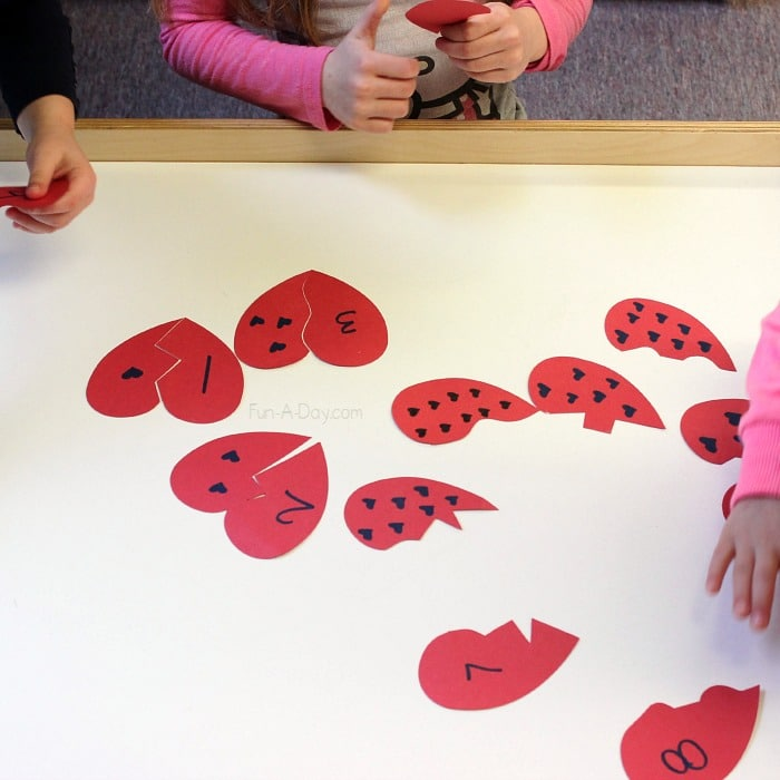 Valentine Math Activity Broken Heart Numbers