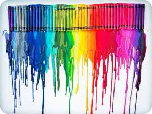 Colourful melted crayons
