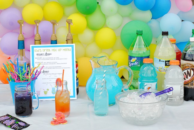 Kids Party Drink Station with Fun Punch Recipes for Kids