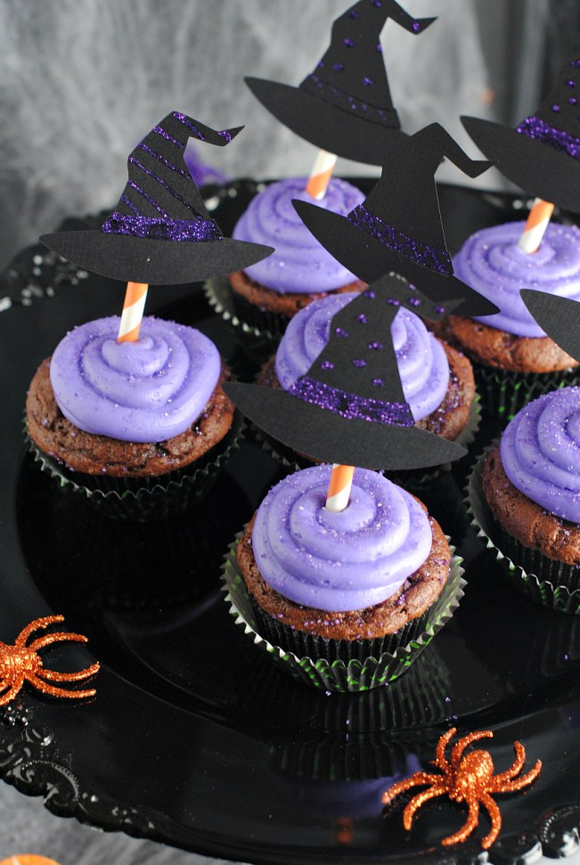 Witch Cupcakes with Halloween Cupcake Toppers